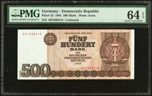 Germany Democratic Republic Staatsbank 500 Mark 1985 Pick 33 PMG Choice Uncirculated 64 EPQ.   HID09801242017
