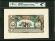 Guatemala Banco de Occidente 20 Pesos 19xx Pick S179fp; S179bp ND (19xx) Front And Back Proofs PMG Superb Gem Unc 67 EPQ; Gem Uncirculated 66 EPQ.   H...