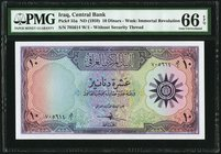 Iraq Central Bank of Iraq 10 Dinars ND (1959) Pick 55a PMG Gem Uncirculated 66 EPQ.   HID09801242017