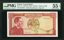 Jordan Central Bank 5 Dinars 1959 (ND 1965) Pick 11a PMG About Uncirculated 55 EPQ.   HID09801242017