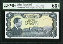 Jordan Central Bank 10 Dinars ND (1959) Pick 16a PMG Gem Uncirculated 66 EPQ.   HID09801242017