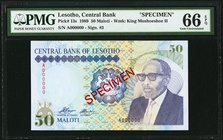Lesotho Central Bank of Lesotho 50 Maloti 1989 Pick 13s Specimen PMG Gem Uncirculated 66 EPQ.   HID09801242017