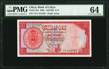 Libya Bank of Libya 1/4 Pound 1963 Pick 23a PMG Choice Uncirculated 64. Erasure.  HID09801242017