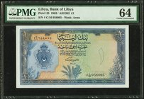 Libya Bank of Libya 1 Pound 1963 Pick 25 PMG Choice Uncirculated 64.   HID09801242017