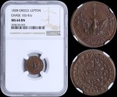 "GREECE: 1 Lepton (1828) (type A.1) in copper with phoenix with converging rays. Variety: ""103-B.b"" by Peter Chase. Inside slab by NGC ""MS 64 BN"". (Hel..."