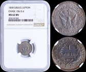 "GREECE: 1 Lepton (1828) (type A.1) in copper with phoenix with converging rays. Variety: ""106-D.d"" (Very Rare) by Peter Chase. Inside slab by NGC ""MS ..."