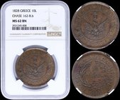 "GREECE: 10 Lepta (1828) (type A.1) in copper with phoenix with converging rays in solid circle. Variety ""162-B.b"" by Peter Chase. Inside slab by NGC ""..."
