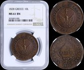 "GREECE: 10 Lepta (1828) (type A.1) in copper with phoenix with converging rays. Variety: ""165-C.e"" by Peter Chase. Inside slab by NGC ""MS 61 BN"". (Hel..."