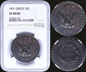 "GREECE: 20 Lepta (1831) in copper with phoenix. Variety ""493-K.m"" by Peter Chase. Inside slab by NGC ""XF 40 BN"". (Hellas 19)."