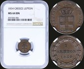 "GREECE: 1 Lepton (1834) (type I) in copper with ""ΒΑΣΙΛΕΙΑ ΤΗΣ ΕΛΛΑΔΟΣ"". Inside slab by NGC ""MS 64 BN"". (Hellas 23)."