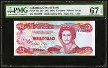 Bahamas Central Bank 3 Dollars 1974 (ND 1984) Pick 44a PMG Superb Gem Unc 67 EPQ.   HID09801242017
