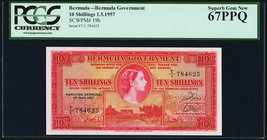 Bermuda Bermuda Government 10 Shillings 1.5.1957 Pick 19b PCGS Superb Gem New 67PPQ.   HID09801242017