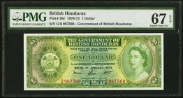 British Honduras Government of British Honduras 1 Dollar 1.1.1973 Pick 28c PMG Superb Gem Unc 67 EPQ.   HID09801242017