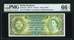 British Honduras Government of British Honduras 1 Dollar 1.1.1973 pick 28c PMG Gem Uncirculated 66 EPQ.   HID09801242017