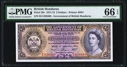 British Honduras Government of British Honduras 2 Dollars 1.1.1973 Pick 29c PMG Gem Uncirculated 66 EPQ.   HID09801242017
