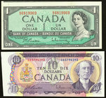 Cut Off Size Error Pair Canada Bank of Canada $1; $10 1954; 1971 BC-37b-i; BC-49a Two Examples About Uncirculated.   HID09801242017