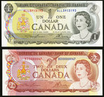 Fancy and Low Serial Number Pair Canada Bank of Canada $1; $2 1973; 1974 BC-46a-i; BC-47a About Uncirculated; Crisp Uncirculated.   HID09801242017