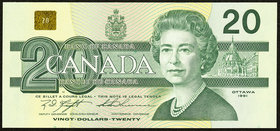 Radar Serial Number Canada Bank of Canada $20 1991 BC-58c Choice Crisp Uncirculated. 2 digit radar serial number 9888889.  HID09801242017