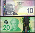 Fancy Serial Number Pair Canada Bank of Canada $10; $20 2005; 2012 BC-68a; BC-71a-i Two Examples Choice Crisp Uncirculated.   HID09801242017