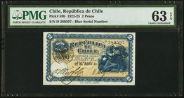 Chile Republica de Chile 2 Pesos 12.6.1924 Pick 59b PMG Choice Uncirculated 63 EPQ. Blue serial number.  HID09801242017