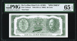 China De La Rue Giori S.A. (CHE) 20 Cents 1946 (ND ca. 1960s) Pick UNL Specimen PMG Gem Uncirculated 65 EPQ.   HID09801242017