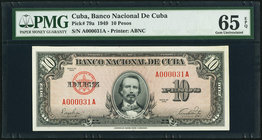 Low Serial Number 31 Cuba Banco Nacional de Cuba 10 Pesos 1949 Pick 79a PMG Gem Uncirculated 65 EPQ.   HID09801242017