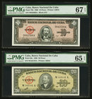 Cuba Banco Nacional de Cuba Lot Of Five PMG Graded Examples. 100 Pesos 1950 Pick 82a PMG Choice Uncirculated 64 EPQ; 10 Pesos 1960 Pick 79b PMG Superb...