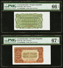 Czechoslovakia Republika Ceskoslovenska; Socialist Republic 5; 10 Korun 1953 Pick 80b; 83b Two Examples PMG Gem Uncirculated 66 EPQ; Superb Gem Unc 67...