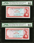 East Caribbean States Currency Authority 1 Dollar ND (1965) Pick 13a Two Consecutive Examples PMG Choice Uncirculated 64 EPQ.   HID09801242017