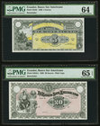 Ecuador Banco Sur Americano Lot Of Five PMG Graded Remainder Examples. 5 Sucres 2.1.1920 Pick S252r PMG Choice Uncirculated 64; 20 Sucres 2.1.1920 Pic...