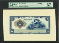 El Salvador Banco Occidental 5 Colones 1920 Pick S194Afp Front Proof PMG Superb Gem Unc 67 EPQ.   HID09801242017