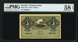 Estonia Treasury Note 5 Marka 1919 Pick 45a PMG Choice About Unc 58 EPQ.   HID09801242017