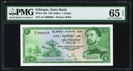 Ethiopia State Bank of Ethiopia 1 Dollar ND (1961) Pick 18a PMG Gem Uncirculated 65 EPQ. Low serial number.  HID09801242017