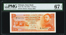 Ethiopia State Bank of Ethiopia 5 Dollars ND (1961) Pick 19a PMG Superb Gem Unc 67 EPQ.   HID09801242017