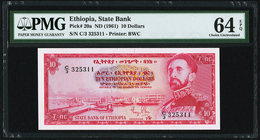 Ethiopia State Bank of Ethiopia 10 Dollars ND (1961) Pick 20a PMG Choice Uncirculated 64 EPQ.   HID09801242017