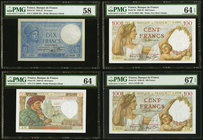France Banque de France Lot Of Four PMG Graded Examples. 10 Francs 24.10.1940 Pick 84 PMG Choice About Unc 58; 50 Francs 24.4.1941 Pick 93 PMG Choice ...