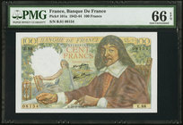 France Banque de France 100 Francs 23.3.1944 Pick 101a PMG Gem Uncirculated 66 EPQ.   HID09801242017
