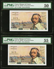 France Banque de France 10 Nouveaux Francs 5.3.1959 Pick 142 Two Consecutive Examples PMG About Uncirculated 50; About Uncirculated 55. Pinholes.  HID...