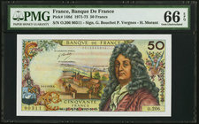 France Banque de France 50 Francs 4.1.1973 Pick 148d PMG Gem Uncirculated 66 EPQ.   HID09801242017