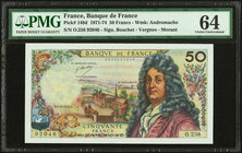 France Banque de France 50 Francs 3.10.1974 Pick 148d PMG Choice Uncirculated 64. Staples holes.  HID09801242017