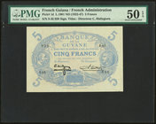 French Guiana Banque de la Guyane 5 Francs 1901 ND (1922-47) Pick 1d PMG About Uncirculated 50 EPQ.   HID09801242017