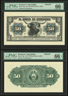 Honduras Banco de Honduras 50 Pesos 1913 Pick 27fp; 27bp Front And Back Proofs PMG Gem Uncirculated 66 EPQ. Three POCs.  HID09801242017