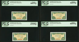Hong Kong Government of Hong Kong 5 Cents ND (1941) Pick 314 KNB4 Four Consecutive Examples PCGS Gem New 66PPQ(3); Superb Gem New 67PPQ.   HID09801242...