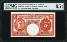 Jamaica Government of Jamaica 5 Shillings 7.5.1955 Pick 37b PMG Gem Uncirculated 65 EPQ.   HID09801242017