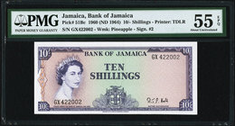 Jamaica Bank of Jamaica 10 Shillings 1960 (ND 1964) Pick 51Bc PMG About Uncirculated 55 EPQ.   HID09801242017