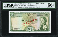 Jersey States of Jersey 1 Pound ND (1963) Pick 8s2 Specimen PMG Gem Uncirculated 66 EPQ. Printer's annotation.  HID09801242017