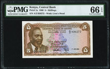 Kenya Central Bank of Kenya 5 Shillings 1.7.1966 Pick 1a PMG Gem Uncirculated 66 EPQ.   HID09801242017