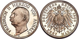 Anhalt-Dessau. Friedrich II Proof 3 Mark 1909-A PR66 Deep Cameo PCGS, Berlin mint, KM29, J-23. A night and day contrast is visible between the velvete...