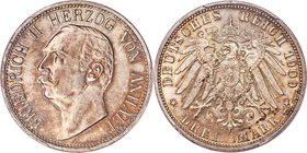 Anhalt-Dessau. Friedrich II 3 Mark 1909-A MS66 PCGS, Berlin mint, KM29, J-23. Deeply struck and dressed in a pattern of cabinet tone that coalesces ar...