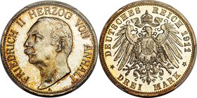 Anhalt-Dessau. Friedrich II Proof 3 Mark 1911-A PR65 Cameo PCGS, Berlin mint, KM29, J-23. The finest of the type we have offered, and only the second ...